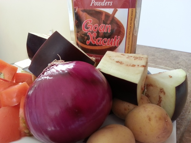 Ingredients for eggplant and potato curry