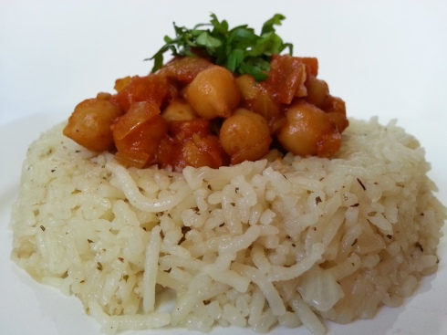 Garbanzo with Xacuti Masala served with Dry  Italian Herb Pulao Rice.