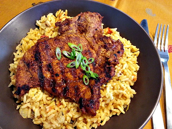 grilled-vindaloo-pork-chops-indian-spices-goan-recipes-spicy-pulao-rice