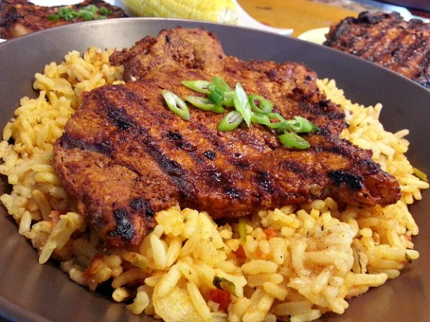 pulao-rice-pilaf-with-vindaloo-curry-grilled-pork-chops-spicy